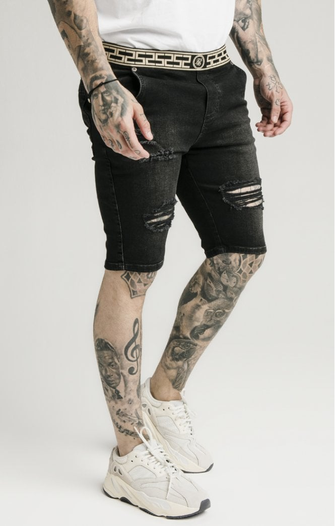 SikSilk Elasticated Waist Distressed Denim Shorts – Black - ZANMODA