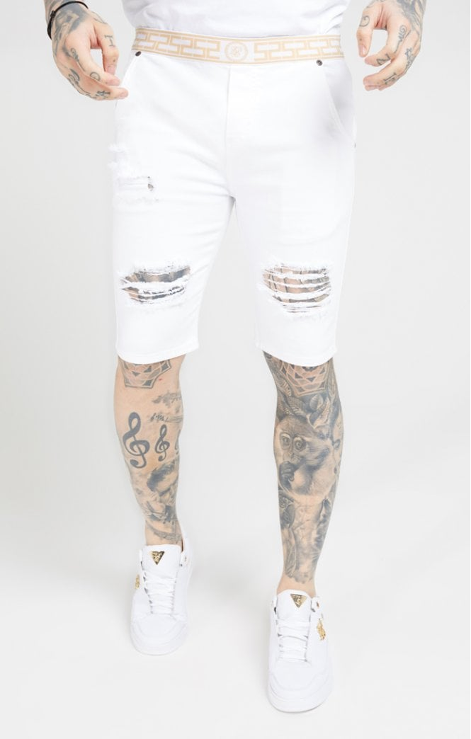 SikSilk Elasticated Waist Distressed Denim Shorts – White - ZANMODA