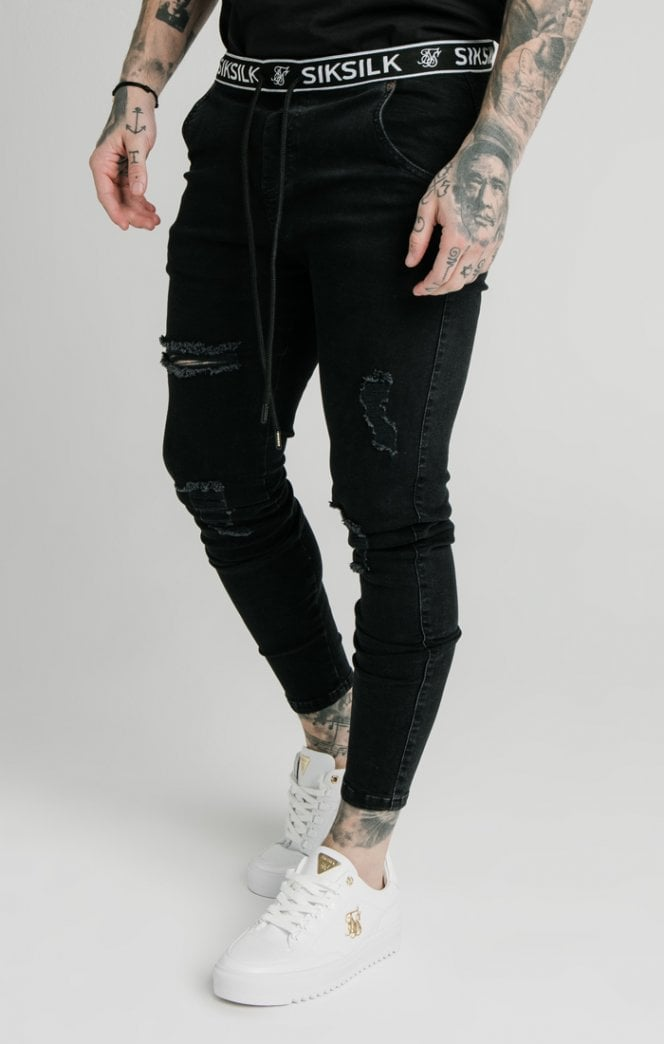 SikSilk Elasticated Waist Skinny Distressed Denim – Black - ZANMODA