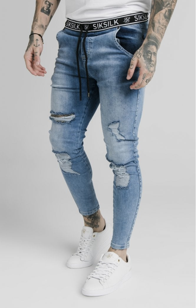 SikSilk Elasticated Waist Skinny Distressed Denim – Midstone Blue