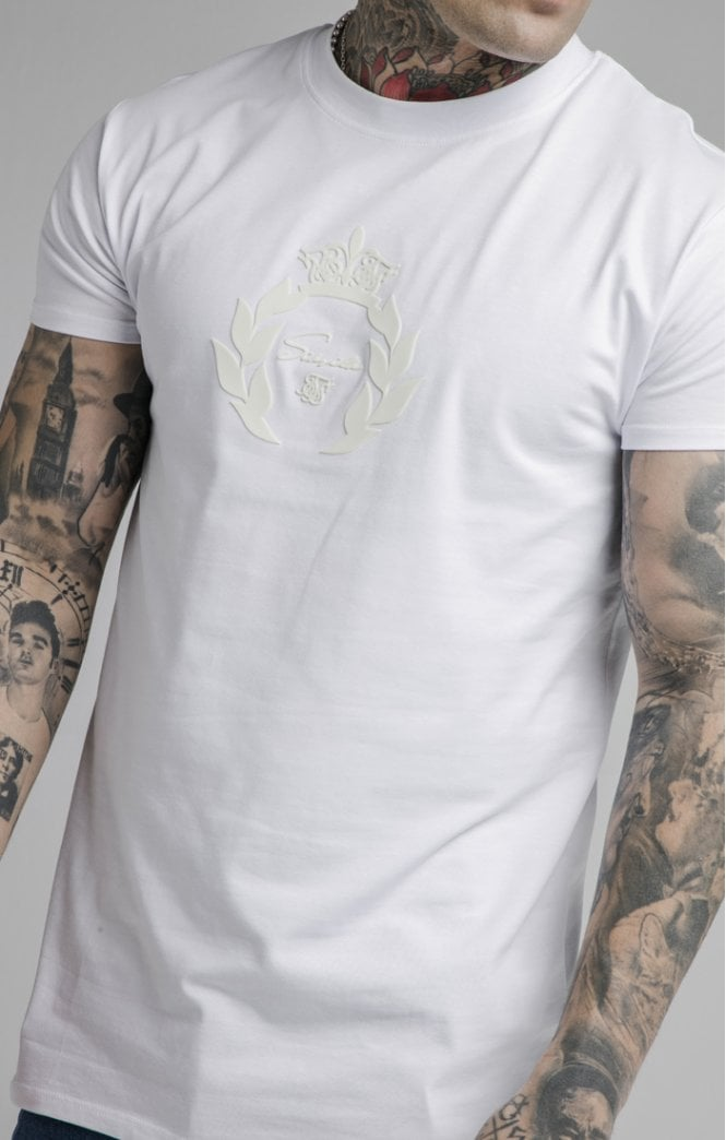 SikSilk Embossed Fitted Box Tee - White