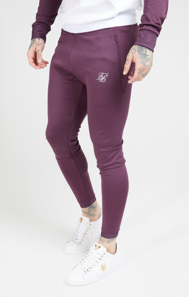SikSilk Evo Hybrid Track Pants - Rich Burgundy