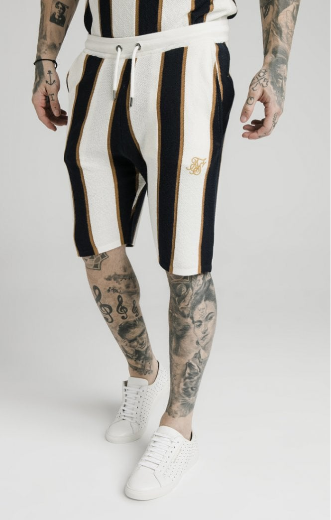 SikSilk Fitted Knit Shorts – Off White, Navy & Gold - ZANMODA