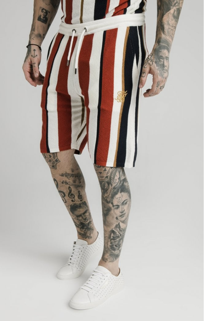 SikSilk Fitted Knit Shorts – Off White, Navy & Red