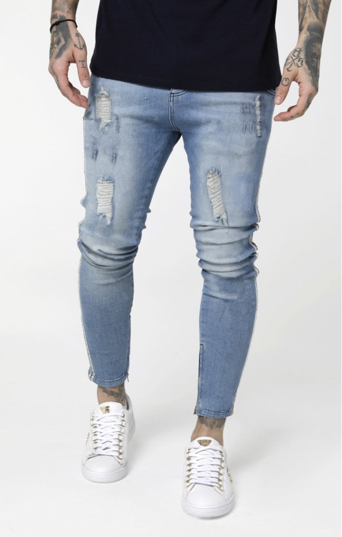 SikSilk Low Rise Denims - Washed Blue