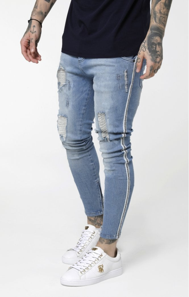 SikSilk Low Rise Denims - Washed Blue - ZANMODA