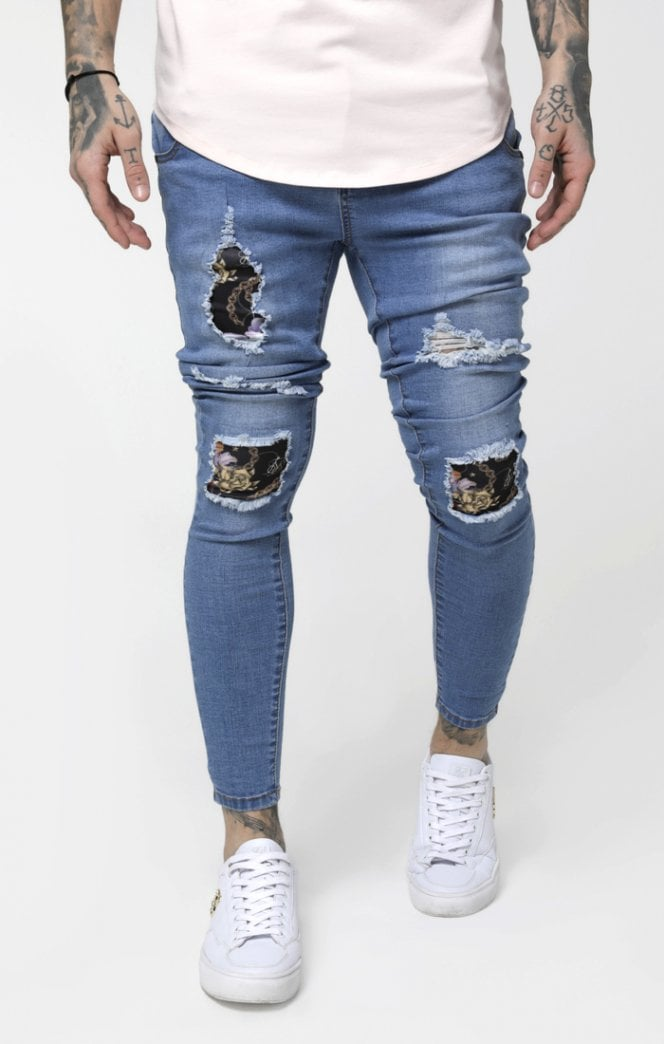 SikSilk Low Rise Distressed Burst Knee Denims - Light Midstone Blue
