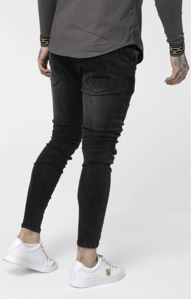 S/S Low Rise Distressed Burst Knee Denims - Washed Black