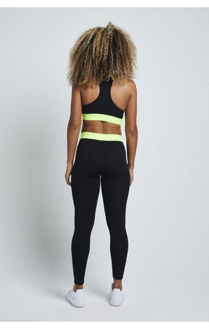 SikSilk Neon Tape Leggings – Black - ZANMODA