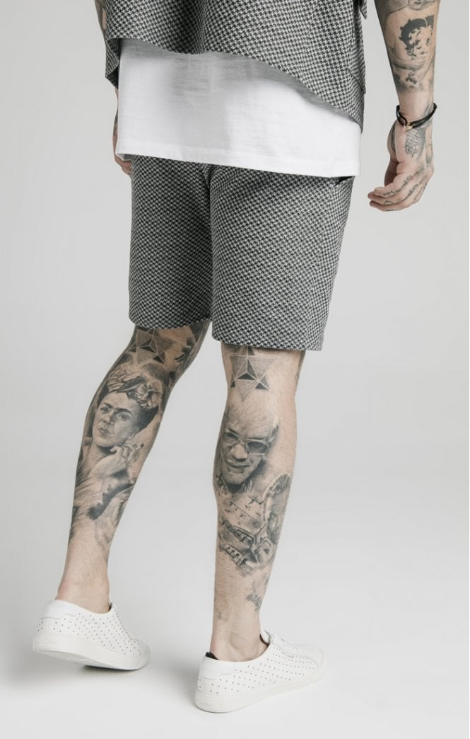 SikSilk Pleated Smart Shorts – Black & White Dogtooth