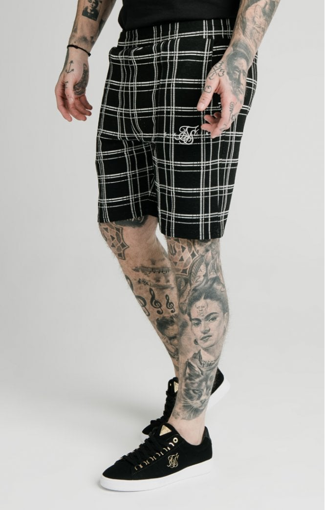 SikSilk Pleated Smart Shorts – Black & White - ZANMODA