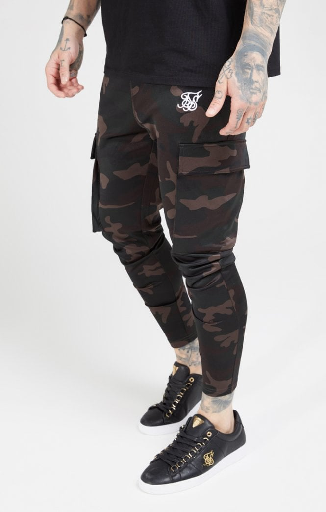 SikSilk Poly Athlete Cargo Pants - Dark Camo - ZANMODA