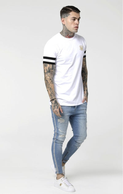 SikSilk Reverse Collar Box Tee - White