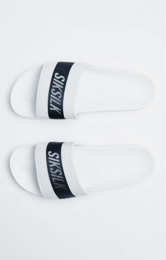 SikSilk Roma Tape Slides – Navy, White & Silver - ZANMODA