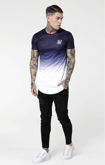 S/S Curved Hem Tee - Navy & White