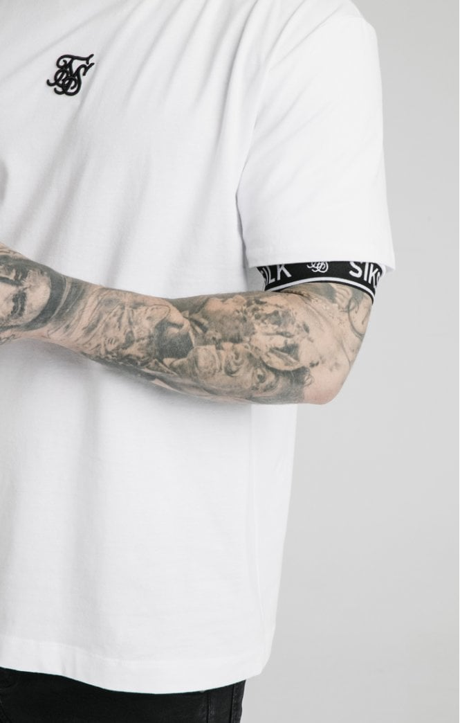 SikSilk S/S Inset Cuff Essential Tee - White