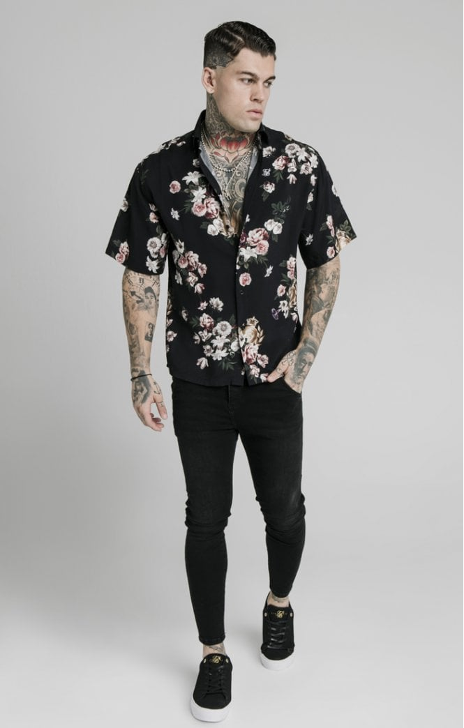 SikSilk S/S Prestige Floral Resort Shirt - Black