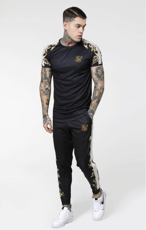 SikSilk S/S Raglan Gym Tee - Black, White & Gold - ZANMODA