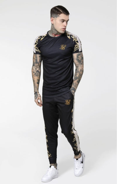 SikSilk S/S Raglan Gym Tee - Black, White & Gold