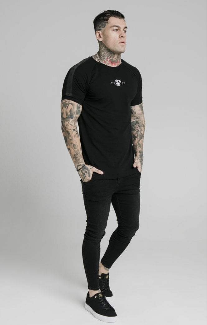 SikSilk S/S Raglan Tape Gym Tee - Black