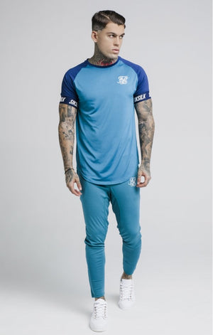 SikSilk  S/S Raglan Tech Tee – Teal & Blue - ZANMODA