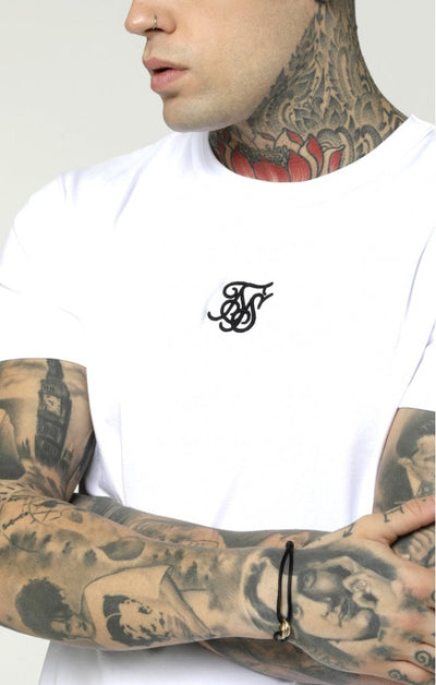 S/S Reverse Collar Box Tee - White & Gold