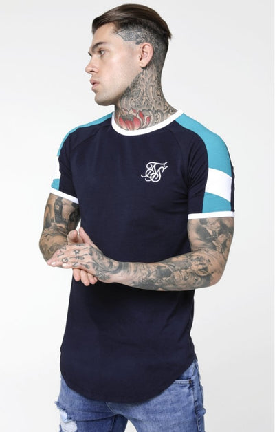 Shelly Gym Tee – Navy, White & Teal