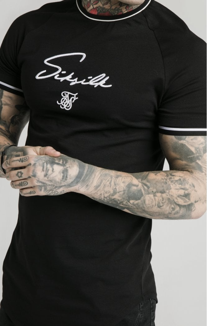 SikSilk Signature Piped Tech Tee - Black