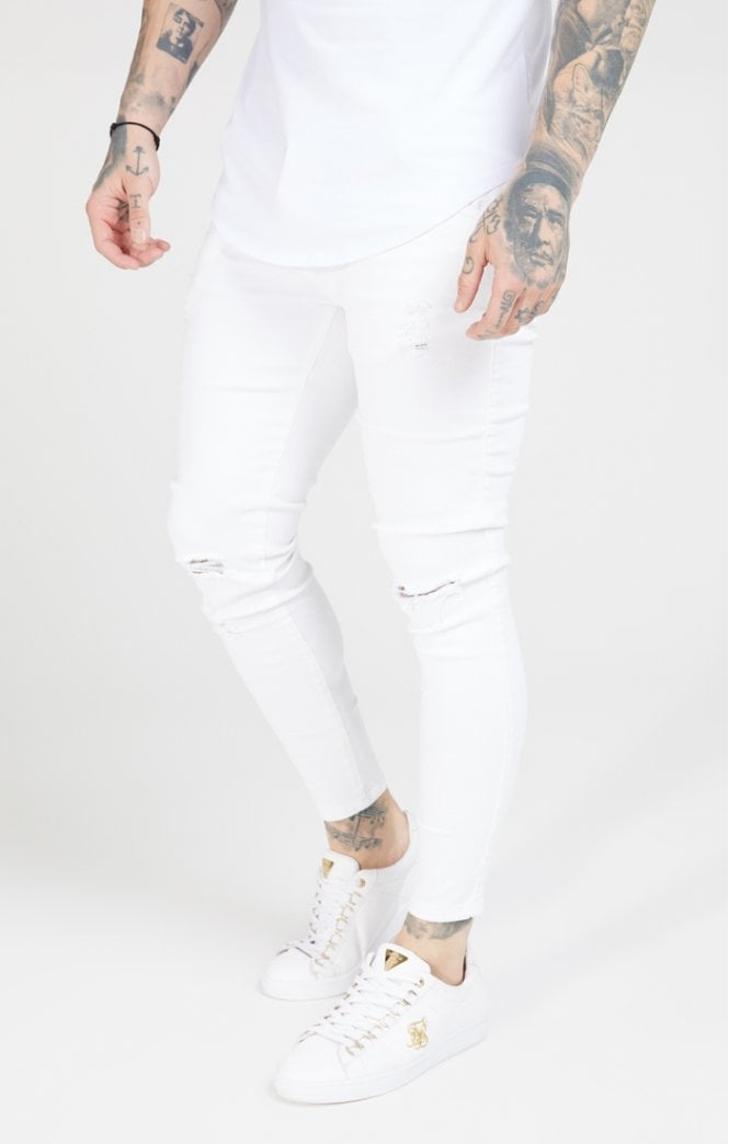 Skinny Distressed Denim – White