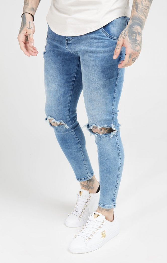 SikSilk Skinny Distressed Slice Knee Denims - Midstone Blue - ZANMODA
