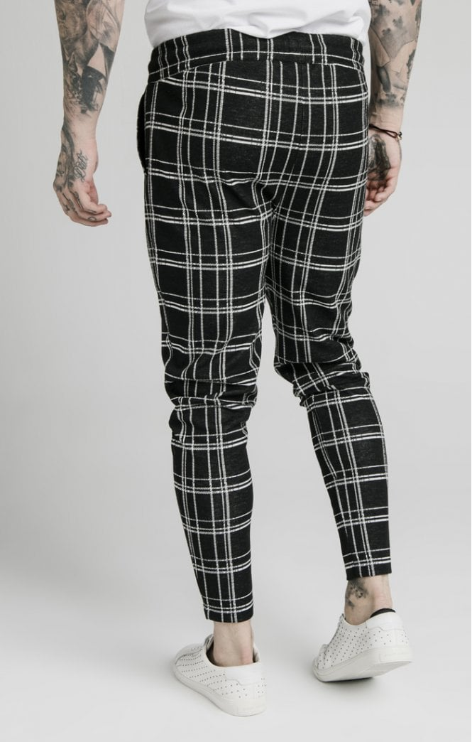SikSilk Smart Cuff Pants - Black & White Check - ZANMODA