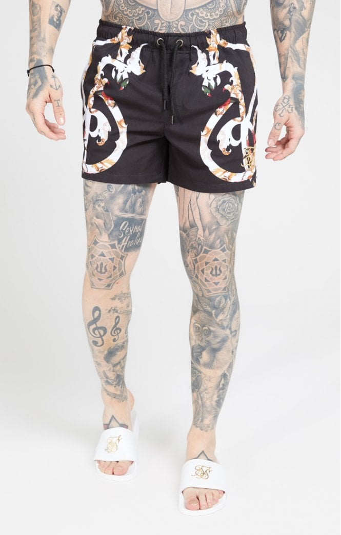 SikSilk Standard Swim Shorts – Floral Scroll - ZANMODA