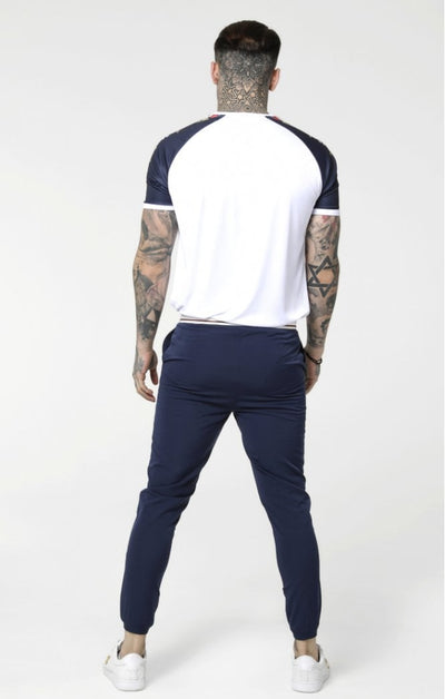 SikSilk Starlite Raglan Tape Tee - Navy & White