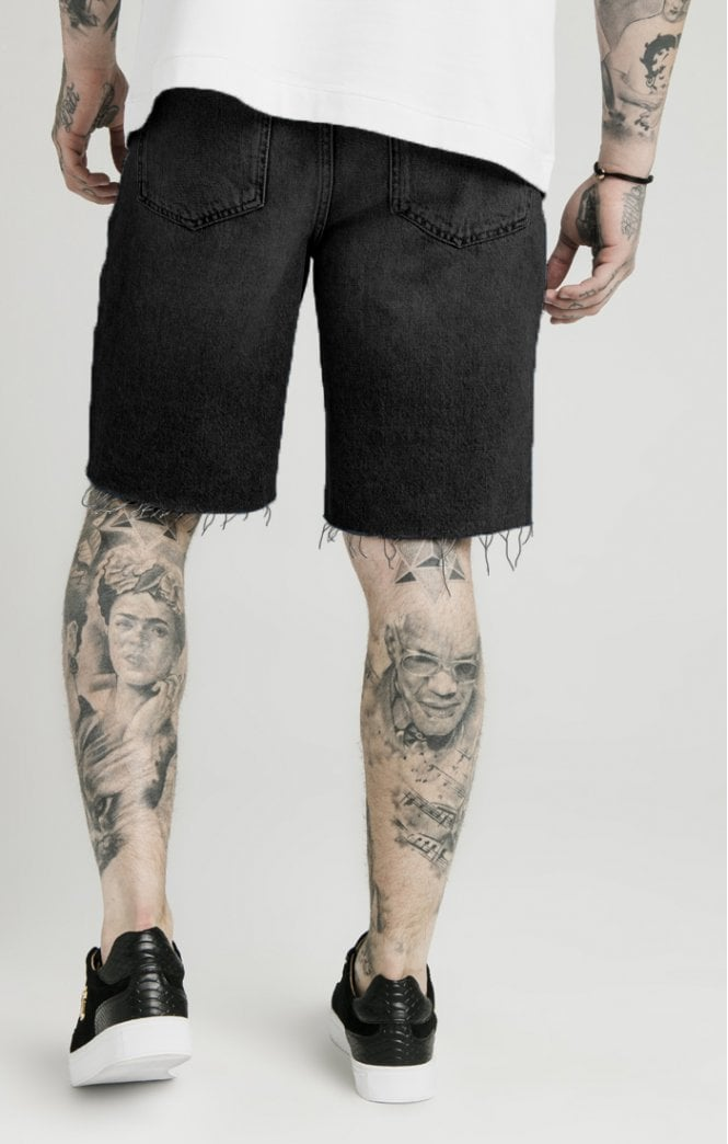 Dani Alves Loose Fit Denim Shorts - Black - ZANMODA