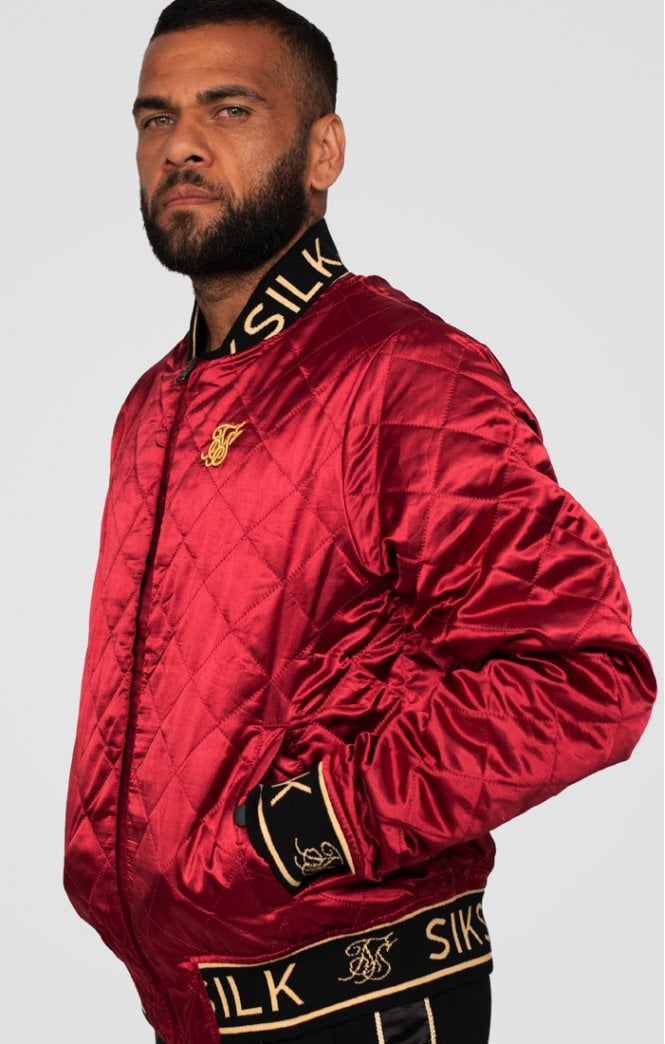 Dani Alves Reversible Bomber Jacket - Dark Red & Black