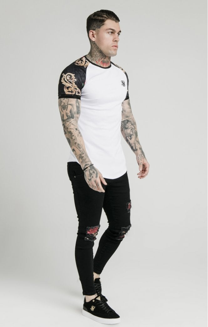 Dani Alves S/S Curved Hem Raglan Tech Tee - White & Floral Animal