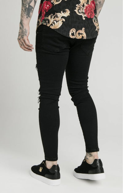 SikSilk  x Dani Alves Skinny Distressed Floral Denim - Black