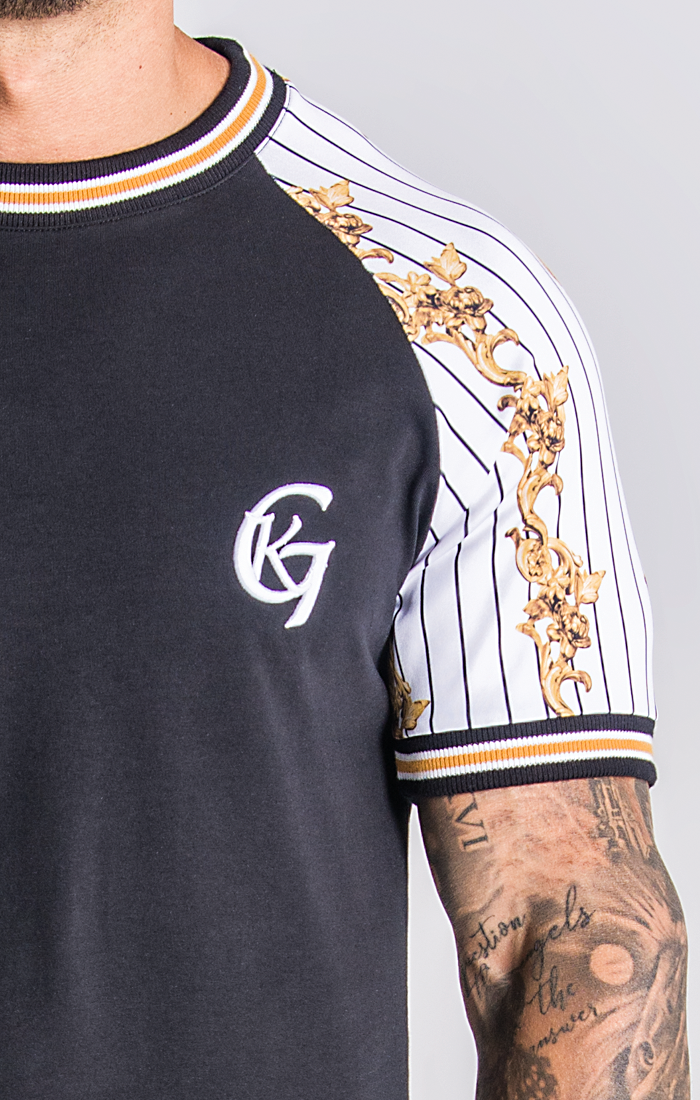 Black Baseball Baroque Raglan T-Shirt - ZANMODA