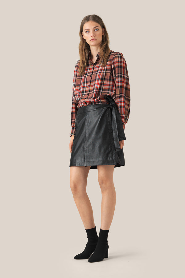Melvin Leather Wrap Skirt