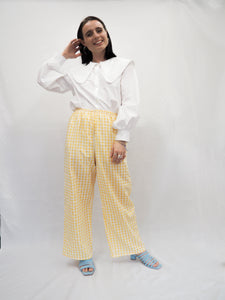 Rae Yellow Gingham High Waist Trousers