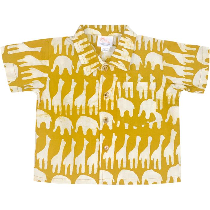 mustard colored baby button down shirt with safari animal prints