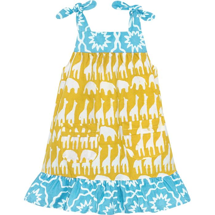 blue and mustard colored mustard colored baby pocket dress with safari animal prints
