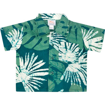 evergreen colored baby button down shirt with leaf prints