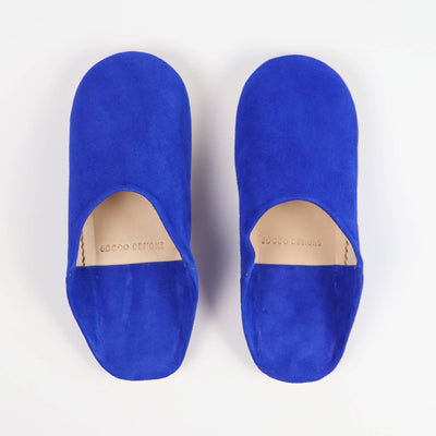 Babouche Moroccan Slippers in jewel Blue suede by Socco
