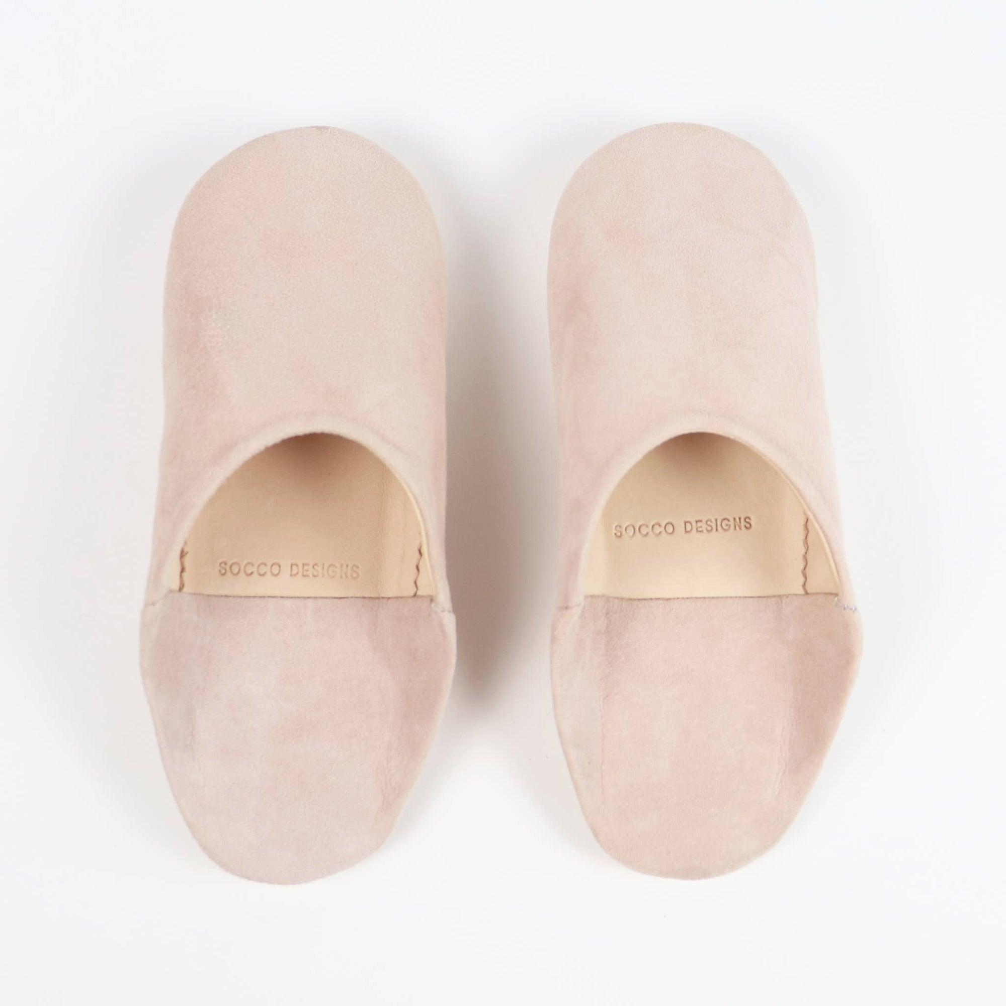 Babouche Moroccan slippers in blush suede by SOCCO