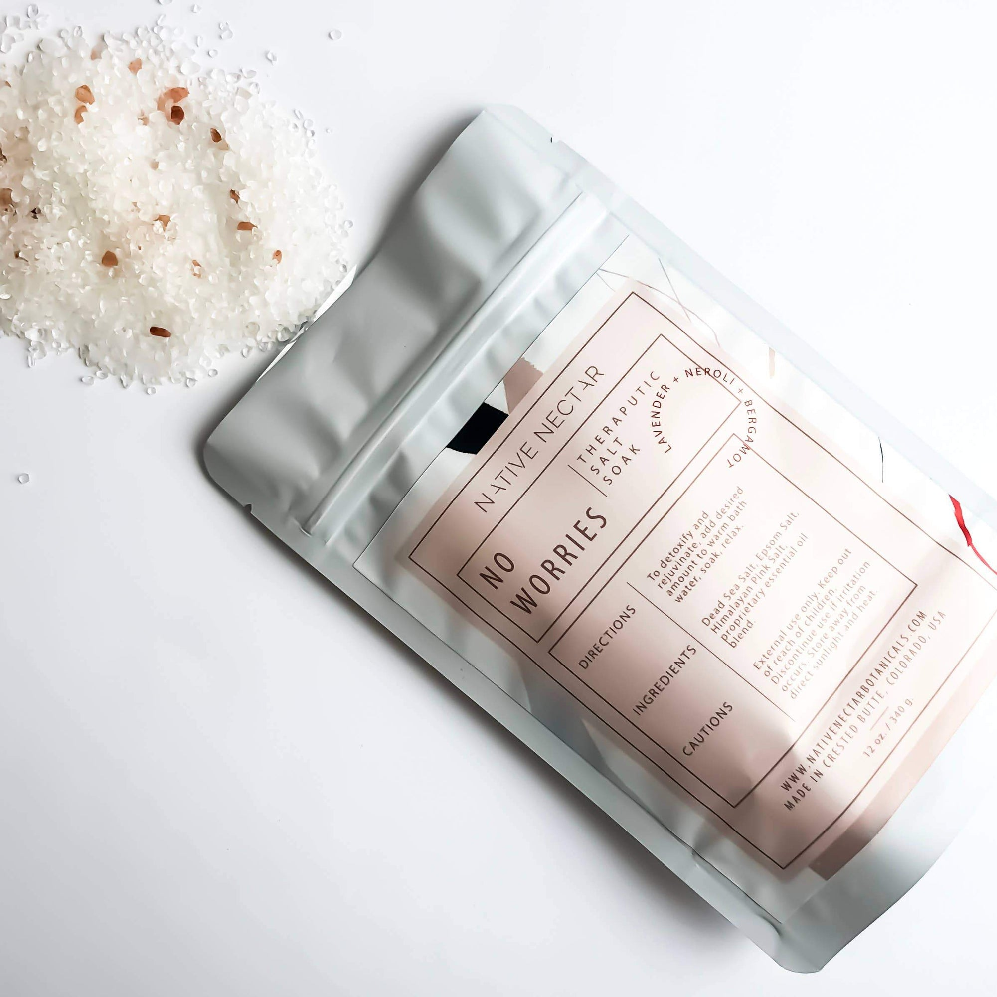no worries bath salt packaging