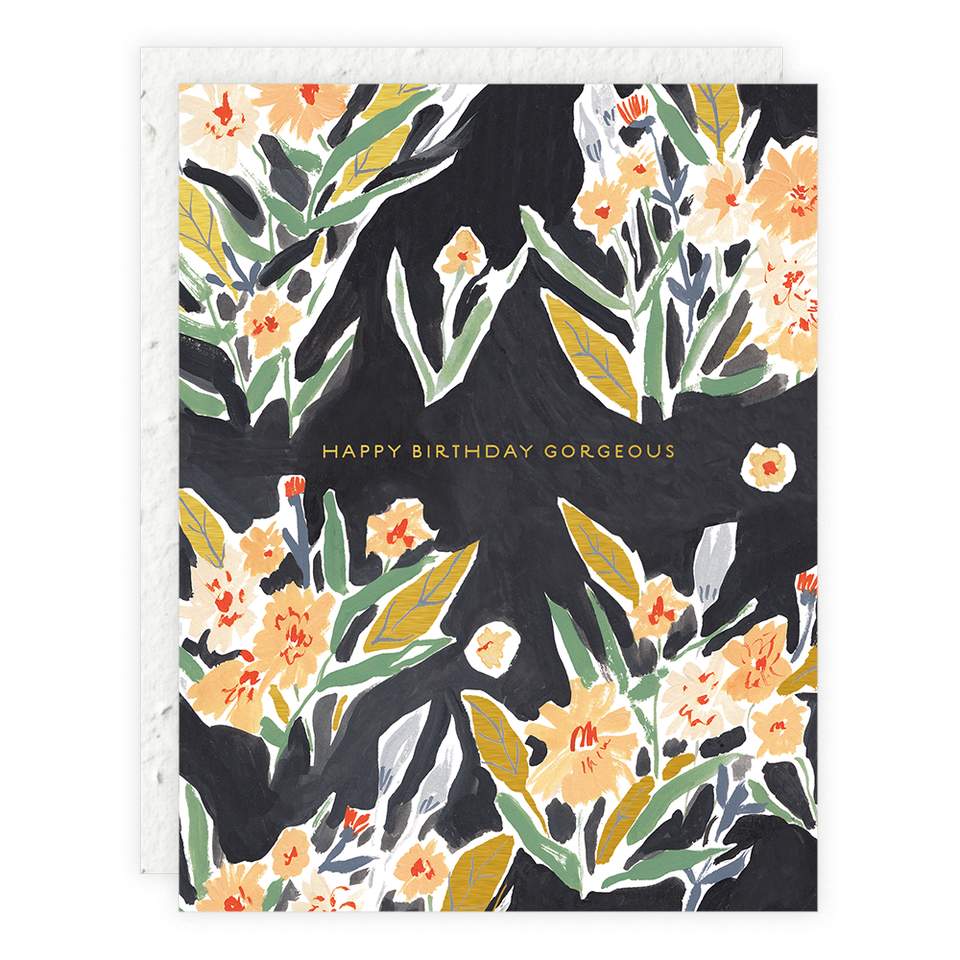 Seedlings - Black Floral Card