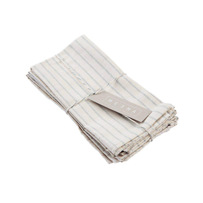 blue and creme striped cotton napkin