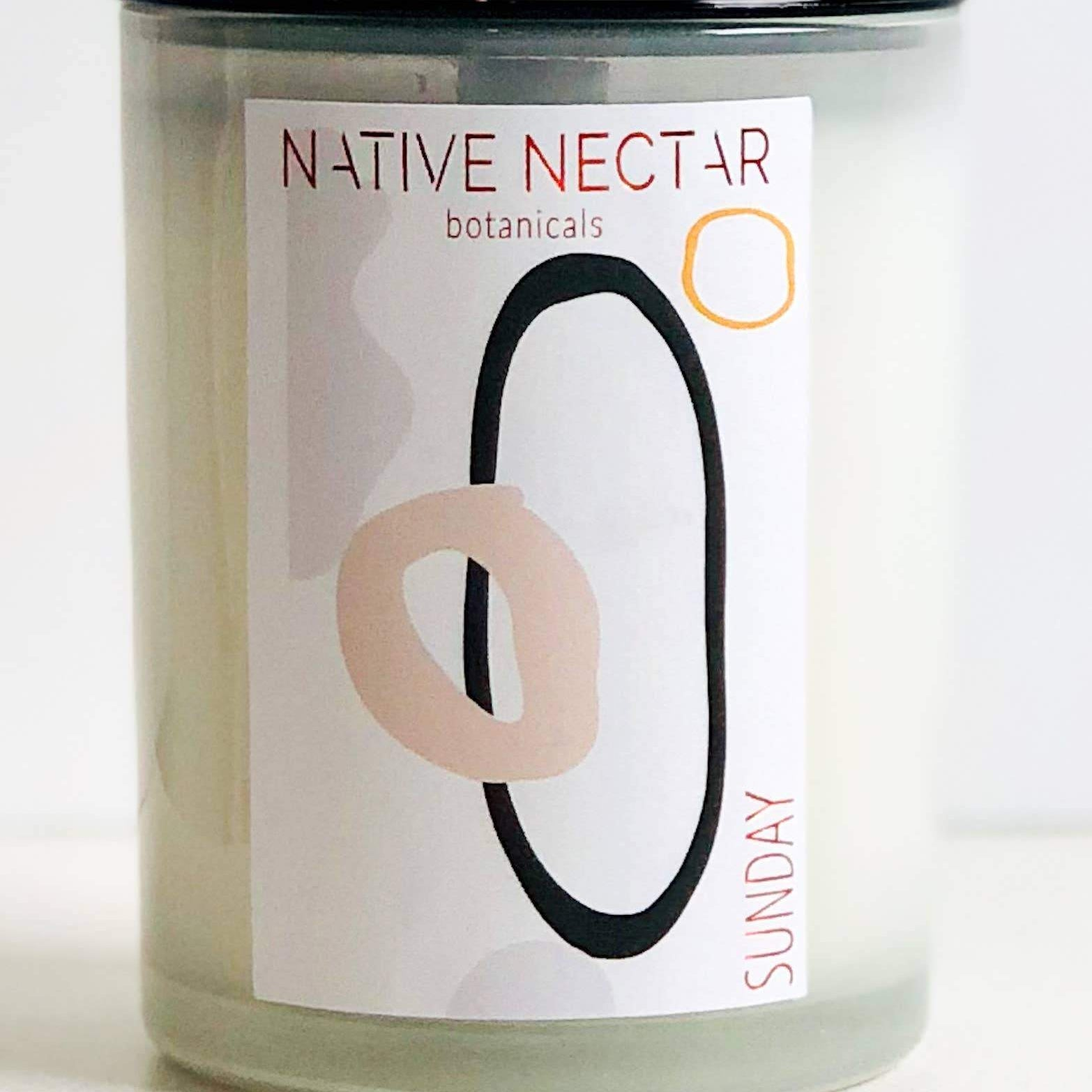 native nectar sunday candle in glass jar