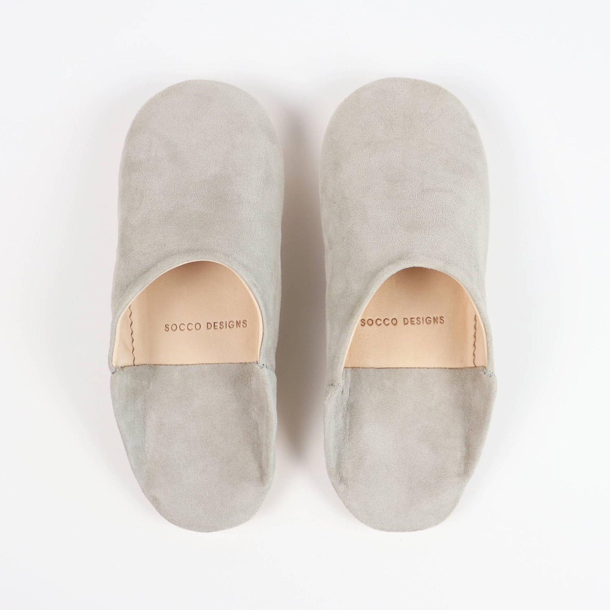 SOCCO Women Moroccan Suede Babouche Slippers in Grey